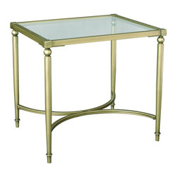 """Hammary - Elipse Rectangular End Table in Champagne Finish - """"As any geometry professor can attest, there is something magical about the precision and beauty of elliptical designs. The smooth, flowing lines. The soft curves that transfix even a casual observer."""