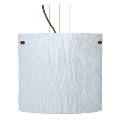 Besa Lighting - Besa Lighting 1KG-4184OS-LED Tamburo 1 Light LED Cable-Hung Pendant - Tamburo is a classic open-ended cylinder of handcrafted glass, a shape that will stand the test of time. Our Opal Stone glass is a white blown glass with an outer texture of coarse sandstone. Inspired by the elements of nature, the appearance of the surface resembles the beautiful cut patterning of a rock formation. The soft white color can suit any modern or classic decor. The smooth satin finish on the clear outer layer is a result of an extensive etching process. This blown glass is handcrafted by a skilled artisan, utilizing century-old techniques passed down from generation to generation. Each piece of this decor has its own artistic nature that can be individually appreciated. The cable pendant fixture is equipped with three (3) 10' silver aircraft cables and 10' AWM cordset, and a low profile flat monopoint canopy.Features: