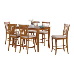 Atlantic Furniture - Atlantic Furniture Venetian 7 Piece Pub Height Dining Set-Caramel Latte - Atlantic Furniture - Dining Sets - AD82225307
