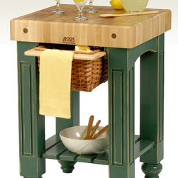 John Boos - Gathering Butcher Block Island-Work Table (4 - Color: 4 in. L x 25 in. W x 24 in. H in BlackThis adorable butcher block table will fit in the smallest of kitchens with ease.  It comes in three sizes with charming wicker baskets to hold everything you need.  With 11 colors to choose from you can get this country style table to match any decor.  It also features an attractive slatted shelf for additional storage. * 4 in. thick end grain hard maple top w/ varnique finish. Slatted shelf. Available in 11 color finishes . Distressed Finish. Comes in 3 sizes. 36 in. H x 24 in. D x 24 in. W - 140 lbs.. 36 in. H x 24 in. D x 36 in. W - 190 lbs.. 36 in. H x 24 in. D x 48 in. W - 237 lbs.