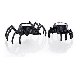 Spider Tea Light, Medium - Every haunted house needs flickering candlelight, and these spider tea light holders will get the job done right!