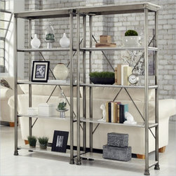 Home Styles The Orleans Multi-Function Etagere Set - Inspired by 18th century French Creole Cottages the slotted shelves and spindle legs are reminiscent of French Quarter architecture. The Orleans Multi-Function Shelves by Home Styles is constructed of powder-coated metal with Marble Laminate shelves. This multifaceted storage unit will meet all your storage needs, and will complement any area in the home…bedroom, kitchen, office, living room, bathroom, garage, etc. The Orleans Storage stand is equipped with five fixed reinforced shelves. Other features include levelers on the feet for added stability. Size: 38w 16d 76h. Assembly required.