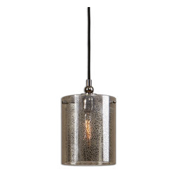 Uttermost - Mariano Mercury Glass Mini Pendant - Hang a few of these to light your kitchen island and you'll have everyone staring into space in awe. Stylish, sophisticated in its simplicity, the flecked mercury glass is suspended by a metal arm finished in a polished nickel. The antique style bulb is included.