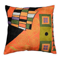 """Modern Wool - Klimt Accent Pillow Cover Tree of Life Orange Hand Embroidered 18"""" x 18"""" - Klimt Pillow Cover - The Tree of Life branching up to the night sky with and its roots in the earth. Using elements of Klimt, yet quite possibly also inspired by Van Gogh's 'The Starry Night,' this piece offers a dramatic accent to any room. The entire cotton base of the pillow is overlaid with soft wool, stitch by stitch, creating an extraordinary show piece for your decor. This is world-class workmanship created to enhance your world with dynamic color and motif."""