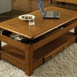 Steve Silver Furniture - Steve Silver Nelson Lift Top Cocktail Table in Medium Wood - Bring style and function into your home with the Nelson collection. This collection features a lift-top cocktail table with casters, drawers for storage on each table, and a bottom shelf for magazines all wrapped in Oak finish. - NE300CLK.  Product features: Corner Blocked Construction; Tongue and Groove Joints; Lift-Top Cocktail Table; Multi-Step Dark Oak Finish; Contemporary Style; Made in China. Product includes: Cocktail Table (1). Nelson Lift Top Cocktail Table belongs to Nelson Collection by Steve Silver.