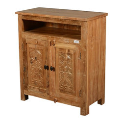 Sierra Living Concepts - Hand Carved Mango Wood Salvatore Storage Cabinet with Open Shelf - This gorgeous Hand Carved Mango Wood Salvatore Storage Cabinet will add a new charm to your decor.