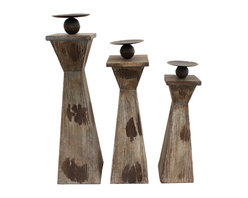 ecWorld - Cypress Wooden Decorative Pillar Candle Holders - Set of 3 - Add style and personality to your home with these unique Cypress Pillar Candle Holders. Sure to add ambiance to any room decor.