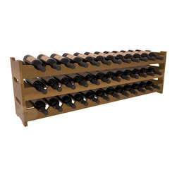 Wine Racks America - 36 Bottle Scalloped Wine Rack in Redwood, Oak Stain + Satin Finish - Stack three cases of wine in a decorative 36 bottle rack using pressure-fit joints for easy assembly. This rack requires no hardware, no tools, and is ready to use as soon as it arrives. Makes for a perfect gift and stores wine on any flat surface.