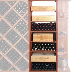 Designer Series 153-Bottle Rectangular Bin & Case Wine Rack - The Designer Series - Rectangular Bin & Case Rack is capable of storing any of your favorite wines in its full bottle depth compartments. This wine storage rack is made of the finest redwood. Redwood is the ideal wood for wine storage because it is naturally resistant to humidity decay and mildew and will last a lifetime. Mahogany has similar characteristics and makes an elegant presentation in either the natural or stained finish. This rack has 7 storage shelves and additional storage space above. It can store 7 wood cases with an additional one on top or store uncrated bottles in the compartments. Shown above with the Diamond Bin Storage Rack and the Quarter Round Display Shelf. Page down to see these items and others from our Designer Series Collection! About Wine Cellar InnovationsWine Cellar Innovations is the world's foremost designer and manufacturer of custom wine cellars and wine racks. Founded more than 20 years ago Wine Cellar Innovations continues to offer creative and functional wine storage solutions while expanding new horizons in refrigeration 3D color design and 3D virtual reality walk-throughs. Wine Cellar Innovations is located in Cincinnati Ohio.