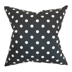 "The Pillow Collection - Nancy Polka Dots Pillow Black White - Bring in a fashion forward vibe to your living room, bedroom or family room with this artsy polka dots throw pillow. Fun and striking, this square pillow works well with various decor themes and settings. This decor pillow will surely stand out with its black and white color combination. This 18"" pillow is made from 100% plush cotton fabric. Hidden zipper closure for easy cover removal.  Knife edge finish on all four sides.  Reversible pillow with the same fabric on the back side.  Spot cleaning suggested."