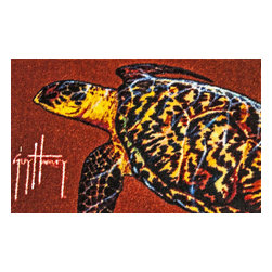Sands Rug Company - Guy Harvey Sea Turtle Accent Rug (29x18) - Add a bit of the outdoor to your home, office, cabin, garage — anywhere. What a fun way to show your interests or give as a gift to that someone who enjoys it. This accent rug is 100% nylon, hand-tufted, and has a washable rubber backing.