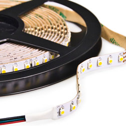 NFLS-W600-VCT series Variable Color Temperature LED Flexible Light Strip - NFLS-W600-VCT Variable Color Temperature high power LED flexible light strip. 5 meters (197 inches) long with 600 1-chip 3528SMD LEDs per unit. 300 Cool White LEDs and 300 Warm White LEDs alternating sequence are individually selectable using VCT-CON controller. Attached power wires mate directly with the VCT-CON color temperature controller. VCT-CON and Variable Color Temperature flexible light strip system is 24VDC operation.