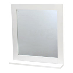 Bathroom Wall Mirror with Shelf Miami White - This bathroom wall mirror Miami has a medium-density fiberboard frame (MDF). It features a painted white-finish shelf, ideal for toiletries and decorative bath items. Handy and handsome, it will be a welcomed addition to your bathroom decor! Easily fixed to the wall or tile wall, the mounting hardware is included and has a surface mount that cannot be recessed into the wall. Length 18.9-Inch, height 21-Inch and depth of the shelf 3.9-Inch. Color white. This lovely wall mirror will make a wonderful finishing touch to any bathroom or any living room. Complete your Miami decoration with other products of the same collection. Imported.