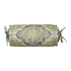 "Mystic Valley - Mystic Valley Traders Namaste - Neckroll Pillow - The Namaste neckroll is fashioned from the Unity fabric, and finished with Sky gathered ends, Unity flanges, aand Unity ties; 7""x14""."
