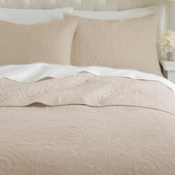 Levtex Home - Beige Vanderbilt Quilt Set - Give your bedroom a fresh start with added comfort with this beautifully crafted set. It brings the charming traditional feel of a quilt and combines it with an elegant style and chic color for a wonderful combination of the best of old and new.   Includes quilt and two shams (twin size includes one sham) Cotton Machine wash; tumble dry Imported