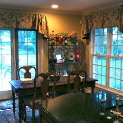 French Country - These custom designed valances perfectly finish this traditional French country kitchen.  Design by Calico Home. installation by Curtain Pros