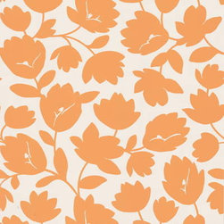 White Orange Floral Wall Covering - Orange is back! I love how it gives such a modern twist on a floral print.