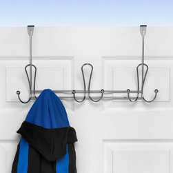 Hooks & Racks - Add extra storage to any room in your home with Spectrum's decorative Quazar Over the Door 9-Hook Rack. Perfect for dorms, apartments, condos and rentals where space can be limited, this elegant rack offers nine spots to store your hats, coats, clothing items, purses, towels, robes and more. The curved hooks are gentle on delicate clothing and help prevent stretching and poking. Made of sturdy steel, the functional and stylish design will add an elegant touch to your home. Fits doors up to 1-3/4'' thick.