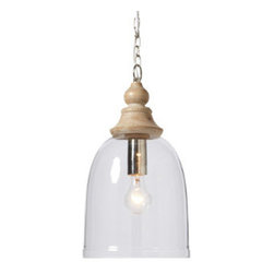 "Grandin Road - Dome Glass Pendant - Pendant cap is hand-finished in a versatile, natural whitewash. 40-watt bulb maximum. 39-1/2"" cord. Hardwire installation (instructions included). Presenting our extraordinary Dome Glass Pendant: The unique marriage of a classic turned cap and modern-inspired clear glass shade. Great over a kitchen island, craft or dining table.  .  .  .  ."