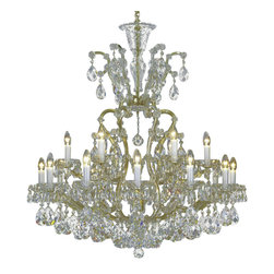 """Inviting Home - Maria Theresa Crystal Chandeliers (Select Crystal) - clear and gold Maria Theresa style crystal chandelier; 40"""" x 44""""H (19 lights); assembly required; 19 light select clear crystal chandelier with hand-molded arms and cut crystal components and trimmings; all metal parts have gold finish; genuine Czech crystal; * ready to ship in 2 to 3 weeks; * assembly required; This chandelier is a part of Maria Theresa Collection. At their start the chandeliers bearing the name of Maria Theresa were made on the occasion of the Empress's coronation as queen of Bohemia in 1743. This fact is hidden in the shape of these lighting fixtures reminiscent of the royal crown. Their characteristic feature is the arms' typical flat surface clad with glass bars. The bars are fixed to the arms by glass rosettes and beads with dangling cut crystal chandelier trimmings. These ravishing fixtures were inspired by a chandelier made for Maria Theresa in Bohemia in the mid 18th century. However not only the empress became fond of it; so did many others who fancied the style and the majestic manners after her. Typical elements are metal arms overlaid with glass bars and decorated with crystal rosettes. Originally the trimming was made of typical flat drops called """"pendles"""". Today trimmings of various shapes are used. Select crystal (or standard). Hand cut or partly machine cut chandelier trimmings. Inspired by rich glassmaking tradition as well as modern trends these crystals are characterized by distinct fire rainbow sparkle and purity of shape. Each piece is checked for accuracy of cut and its high quality is guaranteed. They will satisfy even the most discriminating customers. Chandelier trimmings of the Select type offer an opportunity to those searching for quality at a great value. The tradition of production luxurious appearance and classical morphology are the common denominator of all these chandeliers. To manufacture these almost 90 percent is hand-completed: mouth-blowing c"""