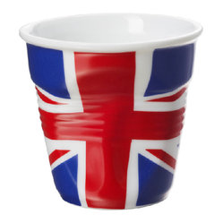 Revol Porcelain Froisses Espresso Tumbler White with UK Flag