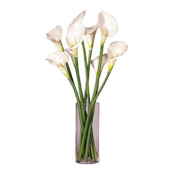 """Vickerman - White Callas Lilies in Glass Cylinder - 24"""" Natural Touch Green Calla Lilies in Glass Vase"""