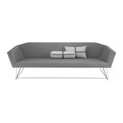 Blu Dot - Blu Dot | Swept Sofa - An understated stitch traces the lean silhouette of the finely tailored Swept Sofa. With gently flared arms and a barely- there  stainless steel base, the Swept Sofa is the epitome of understated elegance. Available in slate and white contract grade leather-alternative upholstery.