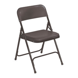 National Public Seating - Premium Lightweight Chair with Steel Frame - Set of 4. Double hinges. Powder coated 18-gauge steel frame. Color-impregnated plastic seat and back. 0.88 in. round tubing. Two U-shaped double riveted cross braces. V shaped stability plugs. Stacks up to 80 in. height (36 chairs) with specially designed stacking tabs. Steel contains 30-40% of post-consumer waste (recycled). Plastic contains up to 35% of pre-consumer waste. Meets ANSI and BIFMA standards. Warranty: Five years for material. Weight capacity: 480 lbs.. 18.75 in. W x 20.75 in. D x 29.75 in. H (8.5 lbs.)