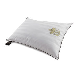 None - Behrens England 1000 Thread Count Luxury Down Alternative Pillow - This Behrens England Luxury Sleep Pillow has a 1000 thread count 100-percent cotton construction filled with gel fiber fill for soft support for retaining its shape. With subtle damask stripes,an embroidered crest logo is a wonderful added touch.