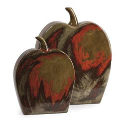 Lancaster Apples Mexican Pottery - Set of 2 - The set of two Lancaster apples are made from traditional Mexican clay with a fiery red and beige finish.