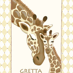 Nursery Wall Art by Sherri Blum for Oopsy Daisy - Giraffe Family  nursery wall art for baby or canvas wall art for kids by Sherri Blum for Oopsy Daisy Art. Beautiful sentiment on kids canvas art that makes a perfect nursery wall hanging for your baby's nursery.  Available in blue, pink, ivory and green. By Sherri Blum, celebrity nursery designer and owner of Jack and Jill Boutique. Variety of sizes.