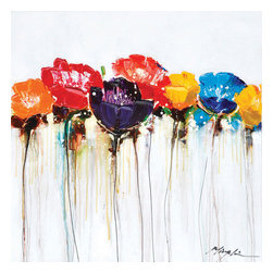 YOSEMITE HOME DECOR - Jeweled Poppies I - Bright and bold poppies will cheer up any living space. Deep lilac, burgundy, canary yellow and fuchsia flowers reach towards the sky with delicate stems. Add a second painting from the same family to give a more dramatic effect. This painting is hand stretched on canvas and ready for wall mounting. Bare walls can make for a dull living or business space which is why we carry a wide selection of unique paintings and wall d��_cor. This acrylic on canvas is a vibrant array of color sure to liven up any wall. This painting features an assortment of brightly colored poppies with thin stems that almost appear to be streaks running down the canvas. The colors range from red and orange to purple and blue in intense hues. This is the perfect piece for the botanist or floral lover. It's passionate color scheme is anything but mundane. We also offer a similar piece that can easily be paired to create a perfect contrast.