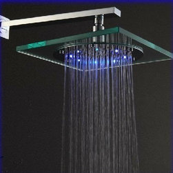 "8"" Synthetic Glass Square Rain Led Shower Head - Features:"