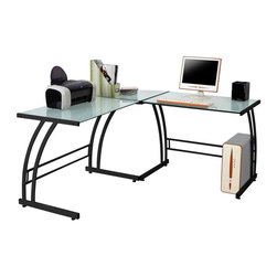 Lumisource - Modern Workstation in Black - Safety tempered glass with a sturdy metal frame. Provides plenty of stylish workspace. 70 in. W x 40 in. D x 30 in. H (65 lbs.). Assembly InstructionsGive your home office a modern look with the Gamma computer workstation. Glass computer desk is sure to enhance any office decor. Provides plenty of stylish workspace.
