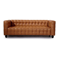 Kardiel - Kardiel Josef Kubus Style Mid-century Modern Sofa 3 Seat, Canyon Anilne Premium - Titled the forerunner of the modernist movement, this high quality reproduction of the Josef Hoffmann Kubus Sofa features a handcrafted hardwood frame graciously lined with polyurethane foam. The surface is luxuriously soft to the touch, compliments of its premium 100% Top-Grain Aniline leather upholstery. This premium reproduction is generously proportioned to original full-scale size and cube count. Precision stitched & aniline leather piped tactile cubes create a thick body of cushioning that is so comfortable you'll understand why this sofa has been a modern classic for nearly a century. For those looking for historic significance in midcentury modern furnishings, the Hoffman Kubus is a certain candidate.