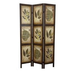Oriental Furniture - 6 ft. Double Sided Botanic Printed Wood Room Divider - 3 Panels - Double sided three-panel room divider with botanical theme. Lightweight but durable kiln-dried wood frame finished in a dark walnut lacquer with medium gloss. Panels feature collage prints of botanical style plant drawings and related print. Darkened edges of printed panels give a vintage feel. Perfect privacy screen or room divider in an office or den with sophisticated, traditional decor.