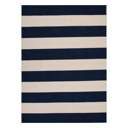 Jaipur Rugs - Flat-Weave Stripe Pattern Wool Blue/Ivory Area Rug (8 x 10) - Bold color is the name of the game with Pura Vida. This beautiful collection of durable, reversible flat-woven dhurries combines the classic simplicity of linear patterns with a decidedly modern palette for a look that's at once casual and sophisticated.