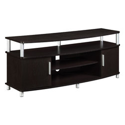 "Altra - Espresso Carson TV Stand - The Carson TV Stand is where style and function meet all in a 48"" sized package! With tons of storage space, this design works for all your home entertainment needs. The chrome accents are a sweet touch to a beautiful TV Stand."