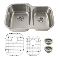 Schon - Schon Premium 18 Gauge 60/40 Double Bowl Undermount Kitchen Sink (SC604018) - Schon SC604018 Premium 18 Gauge 60/40 Double Bowl Undermount Kitchen Sink, Stainless Steel