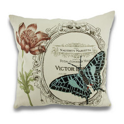 Manual - Vintage Style Naughty Butterfly Embroidered Throw Pillow 18 in. - This beautiful throw pillow will add a vintage touch to your room and your home and is fraught with Victorian charm. A bold black and blue butterfly has been embroidered on the front of the cream colored 100% cotton cover, and features sheet music from the opera 'Naughty Marietta', a 1935 opera, printed on the front that's framed in ornate detail. There is a hidden zipper on the bottom of the pillow to easily remove the 100% polyester stuffed form to gently spot clean the cover when needed. Measuring 18 inches (46 cm) high and 18 inches (46 cm) wide, it's the perfect size to complete your bedding ensemble, to display on a shelf, or add character to an antique rocking chair. Whether this pillow is tucked under your arm or displayed for all to see, it's certain to command attention and will surely be admired!