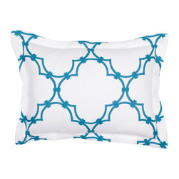 COCOCOZY: Quatrefoil Bedding - I love quatrefoil so much I dedicated an entire ideabook to it, and that pattern combined with peacock blue simply throws me over the edge. Add some luxury to your bedscape with this gorgeous boudoir pillow from design blogger COCOCOZY's home furnishings line.