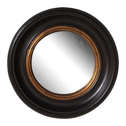 "Howard Elliott - Traditional Howard Elliott Black Lacquer 21"" Round Wall Mirror - With the sophisticated contrast of black lacquer and mottled gold leaf finishes this round wall mirror has a glamorous luxurious look. In the center a convex mirror adds interest. From Howard Elliott this design is great for bringing a touch of drama to your home decor. Wood frame construction. Black lacquer finish. Mottled gold leaf finish inset. Convex mirror glass. 21"" round. 2"" deep. Mirror glass only is 15"" round. Hang weight 12 lbs.  Wood frame construction.  Black lacquer finish.  Mottled gold leaf finish inset.  Convex mirror glass.  21"" round.  2"" deep.  Mirror glass only is 15"" round.  Hang weight 12 lbs."