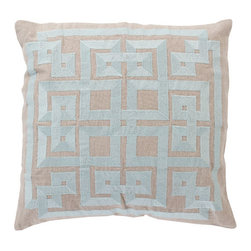 Surya Rugs - Robin's Egg Blue and Oatmeal Polyester Filled 20 x 20  Pillow - - This trendy design will bring the perfect amount of style to your home. This pillow has a polyester fill and a zipper closure. Made in India with one hundred percent Linen and cotton detail this pillow is durable and priced right  - Cleaning/Care: Blot. Dry Clean  - Filled Material: Polyester Filler Surya Rugs - LD010-2020P