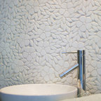 Jacqueline Stone Mosaic - Jacqueline, a natural stone waterjet  floral mosaic, is shown in tumbled Thassos.
