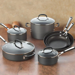 Calphalon - Calphalon Simply Calphalon Nonstick Hard-Anodized 10 Piece Cookware Set Multicol - Shop for Cookware Sets from Hayneedle.com! Get your kitchen stocked in a hurry and affordably to boot with the excellent Calphalon SA10H Simply Calphalon Nonstick Hard-Anodized 10 Piece Cookware Set. This set has all the needed pans for entertaining large parties or simply feeding your family. The signature hard-anodized aluminum is perfect for even heating required for good results and the double coated non-stick surface helps you out in a bind. For use with nylon coated and wooden utensils. Set Includes: 8- and 10-inch omelette pans 1- and 2-quart covered sauce pan 3-quart covered saute pan 6-quart covered stockpot About Calphalon.Calphalon's mission is to be the culinary authority in kitchenwares enhancing the home chef's food experience during planning prep cooking baking and serving. Based in Toledo Ohio Calphalon is a leading manufacturer of professional quality cookware cutlery bakeware and kitchen accessories for the home chef. Calphalon is a Newell-Rubbermaid company. Calphalon's goal is to give you the home chef all the tools you need to realize your highest potential in the kitchen. From your holiday roasting pan to your everyday fry pan count on Calphalon to be your culinary partner - day in and day out for breakfast lunch and dinner for a lifetime.