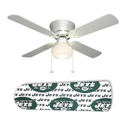 "New York Jets 42"" Ceiling Fan and Lamp - 42-inch 4-blade ceiling fan with a dome lamp kit that comes with custom blades. It has a white flushmount fan base. It has an energy efficient 3-speed reversible airflow motor for year long comfort. It comes with complete installation/assembly instructions. The blades can be cleaned with a damp cloth. It is made with eco-friendly/non-toxic products. This is brand new and shipped in the original box. This is not a licensed product, but is made with fully licensed products. Note: Fan comes with custom blades only."