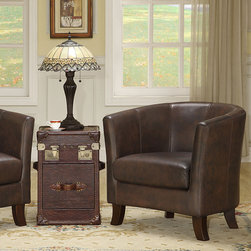 None - Bristol Dark Brown Vintage Leather Club Chair - Relax a while in a vintage leather club chair from Bristol. Exuding richness with full-grain leather, tapered wood legs, and detailed stitching; it features a contoured back and double-padded seat. This chair's kiln-dried hardwood frame is hand-crafted.
