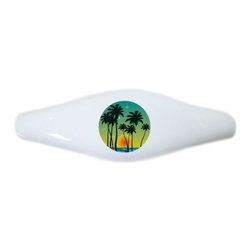 Carolina Hardware and Decor, LLC - Tropical Sunset Ceramic Cabinet Drawer Pull Handle (Drawer Pull) - New ceramic cabinet, drawer, or furniture pull with mounting hardware included. Pull has standard three inch centers.  Can be wiped clean with a soft damp cloth. Great addition and nice finishing touch to any room!