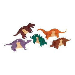 "GuideCraft - Block Dinosaurs Head & Tail Pieces w Patented Slip Grip - Great for school or home, these dinosaur pieces help kids learn. Brick shaped unit blocks are all you need to attach the head and tail pieces. There's a patented ""Slip Grip"" that holds pieces in place. Kids can create a brontosaurus, T-rex, triceratops and more. Traditional-sized. Pieces slide on easily and fit snugly"