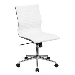 Flash Furniture - Mid-Back Armless White Ribbed Upholstered Leather Conference Chair - This elegant office chair will add an upscale appearance to your office. The comfort molded seat has built-in lumbar support and features a locking tilt mechanism for a mid-pivot knee tilt. This chair features dual paddle controls to easily adjust your chair and an integrated bar in the back to keep your jacket within reach. If you're looking for a modern office chair that provides a sleek look, then the Ribbed Upholstered Leather Office Chair by Flash Furniture delivers.